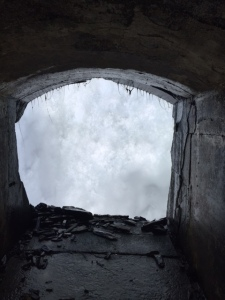 Niagara Falls Tunnel behind falls