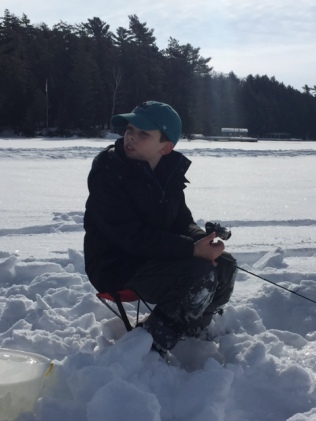 ice fishing waiting